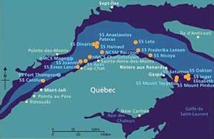 Carte montrant les navires torpillés dans le golfe et le fleuve Saint-Laurent (1942-1945).