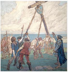 Image 10 de 24 - Jacques Cartier à Gaspé, 1534.  Provenance : Bibliothèque et Archives Canada/MIKAN 2896921