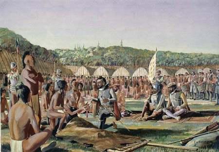 Jacques Cartier rencontre encore Donnacona, chef des Iroquois et père de Domagaya et Taignoagny qui le salue par les mots 'Kanata' ou 'Cantha', ce qui veut dire groupement de huttes. C'est le premier usage attesté du nom Kanata qui deviendra Canada