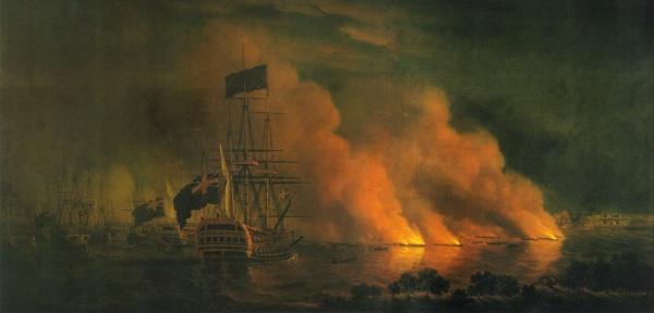 Tentative française d'attaque des navires anglais sur le fleuve, avec des brûlots, juin 1759.