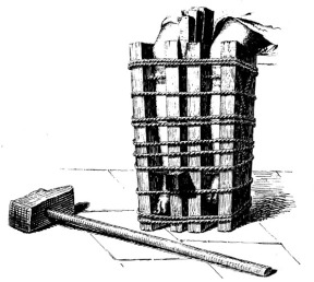 Les jambes du détenus lors du supplice du brodequin.