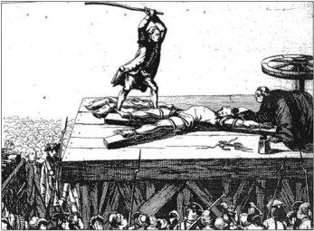Le supplice de la roue: Un condamné recevant des coups de barres, destinés àa lui briser les membres, avant d'être laissé pour mort sur une roue. « Les images de la justice dans l'estampe, de 1750 à 1789 ».