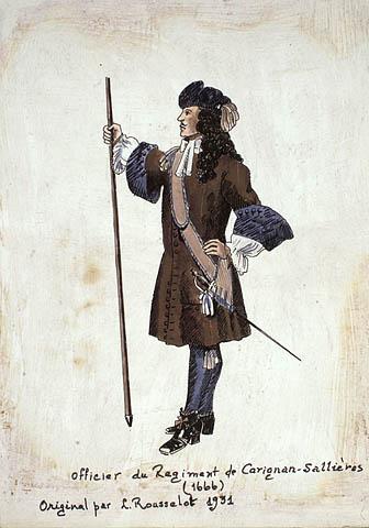 Officier du Régiment de Carignan-Salières, 1666. Original par Lucien Rousselot en 1931. Robert Rosewarne. BAC, MIKAN 2837773, 2896020,